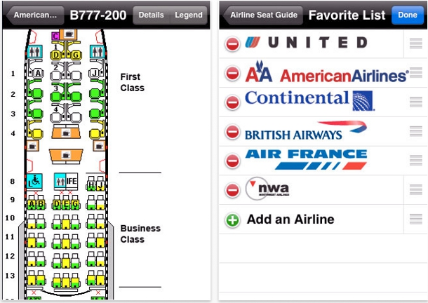 Airline seat guide iPhone app