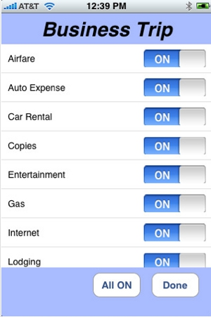 Business Trip iPhone app