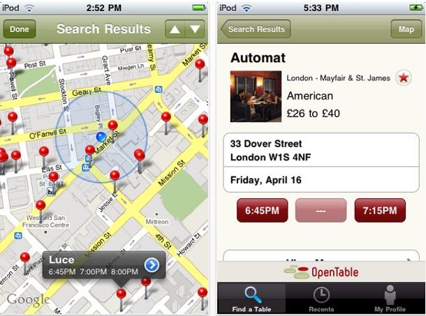 OpenTable iPhone app
