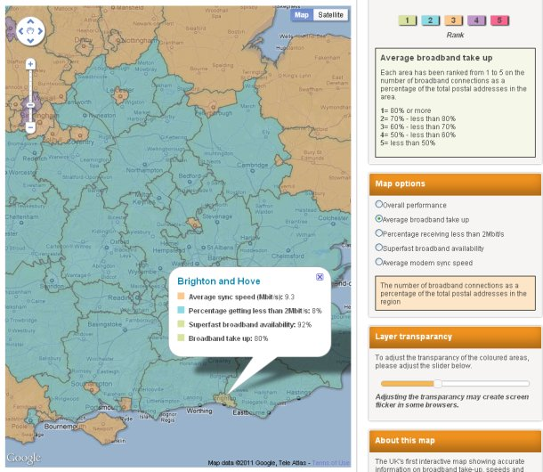 Ofcom broadband UK speed map broaband take-up