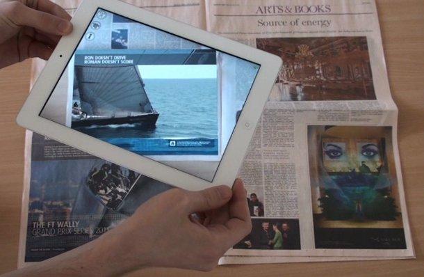 Autonomy augmented reality app on newspaper ad