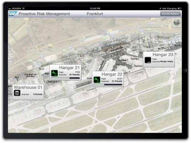 Google Map displayed within SAP BusinessObjects as it appears on an iPad