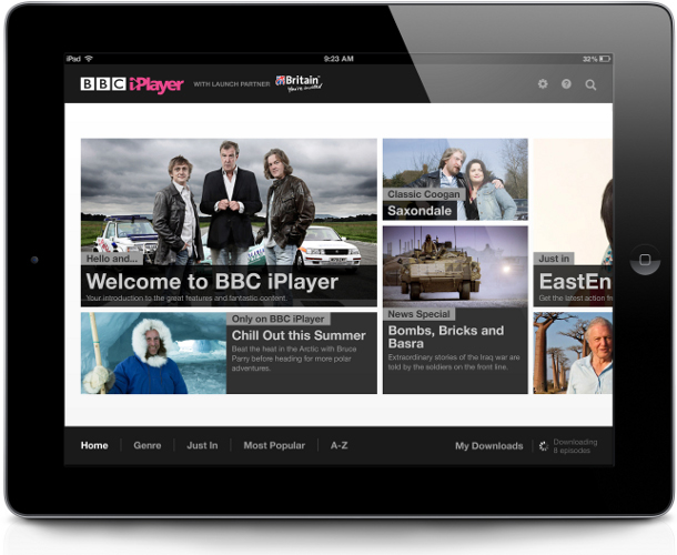 International iPlayer iPad app homepage