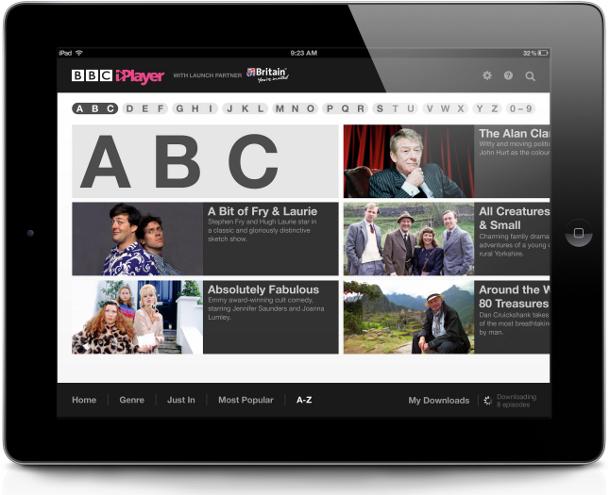 International iPlayer iPad app alphabetical menu