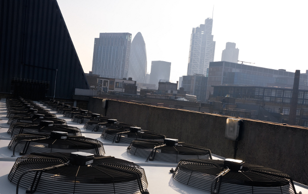 Datacentre roof with the City in background
