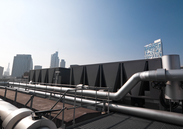 Datacentre roof with City in background