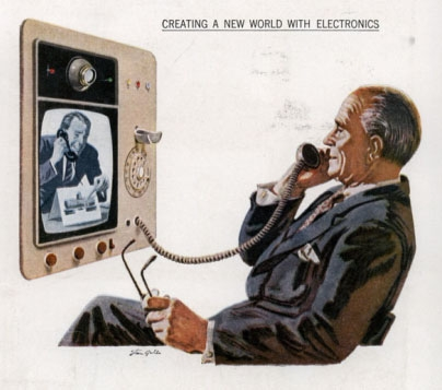 Video phone: 1956 advertisement for Hughes Products