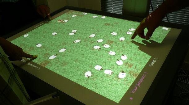 Open University touchscreen collaboration sheep game