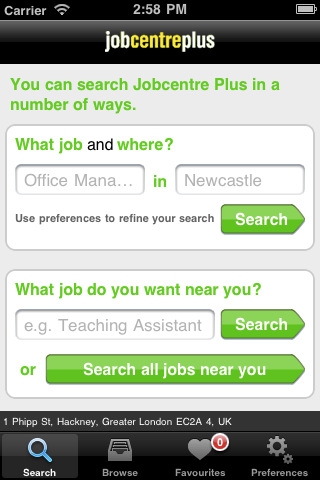 Job Centre Plus app