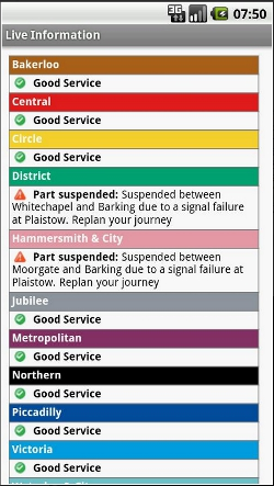 London Underground Android app