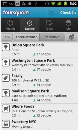 Foursquare Android app