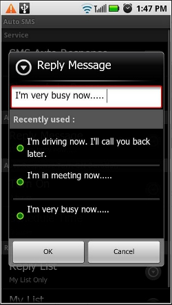 Auto SMS Android app