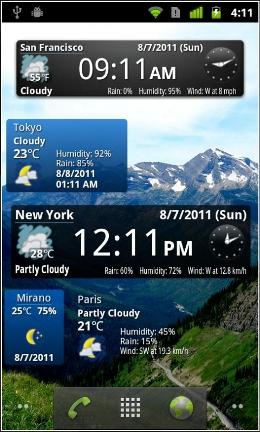 World weather clock widget Android app