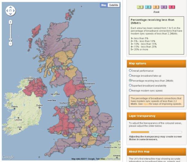 Ofcom broadband UK speed map sub-2Mbps