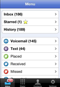 Google voice menu