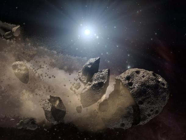 Artist's impression of a broken asteroid