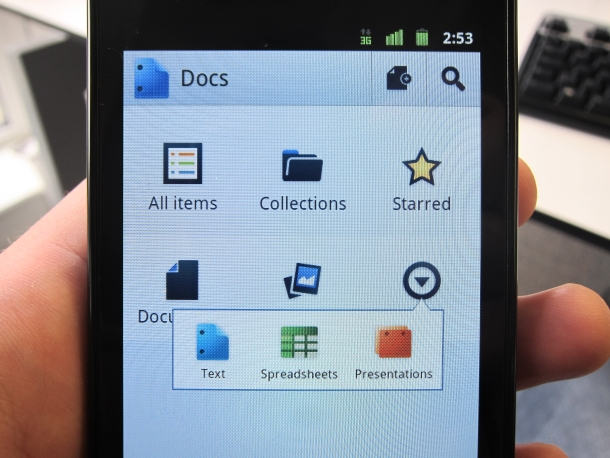 Google Docs for Android homescreen
