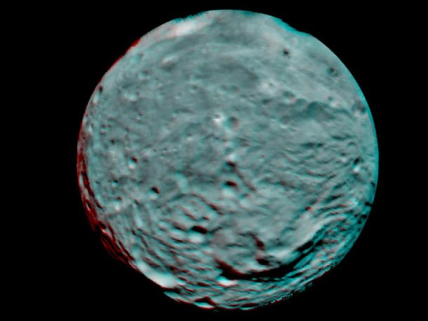 Anaglyph image of the asteroid Vesta