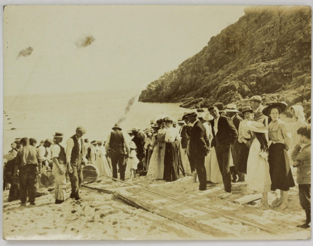 Porthcurno beach submarine cable 1906