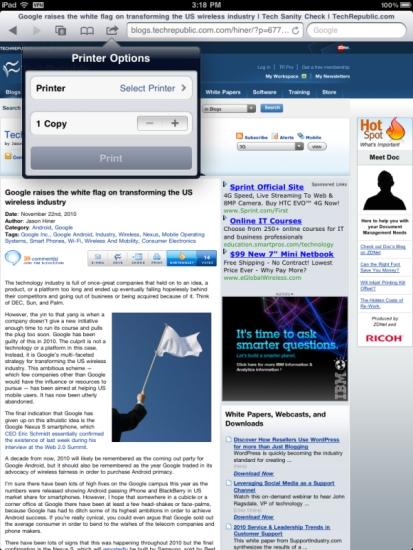 iPad AirPrint