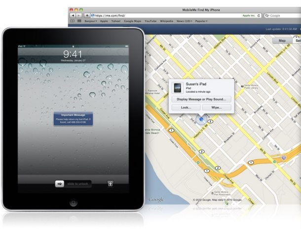 Find my iPad on a map