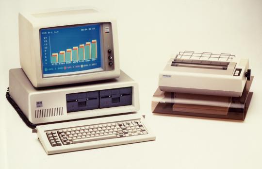 The original IBM 5150 with peripherals