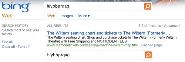 Google Bing search results