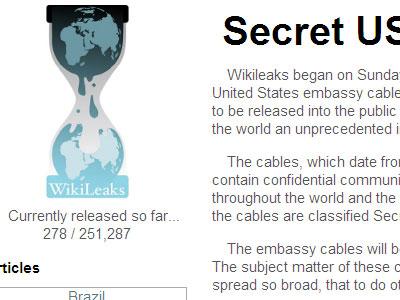screenshot of Wikileaks cable viewer website
