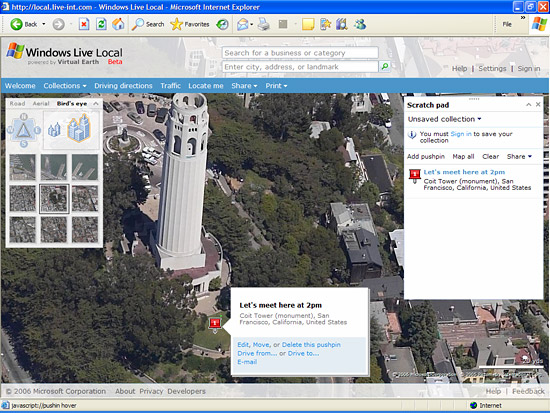 The Windows Live mapping service's scratch pad feature
