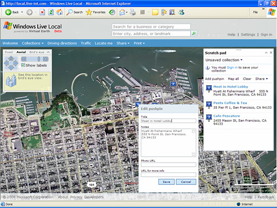 More of the Windows Live mapping service's scratch pad feature