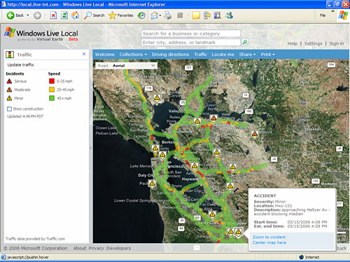 The Windows Live mapping service's local traffic feature