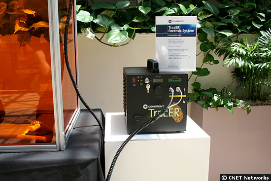 Portable green laser for crime scene investigations