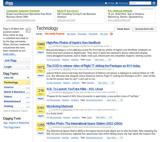 Digg technology home page