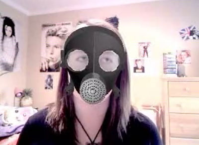 """""""Bowiechick"""" in gas mask"""