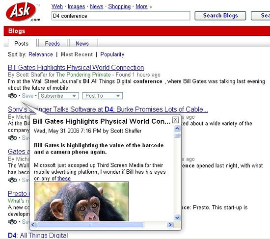 Ask.com blog search