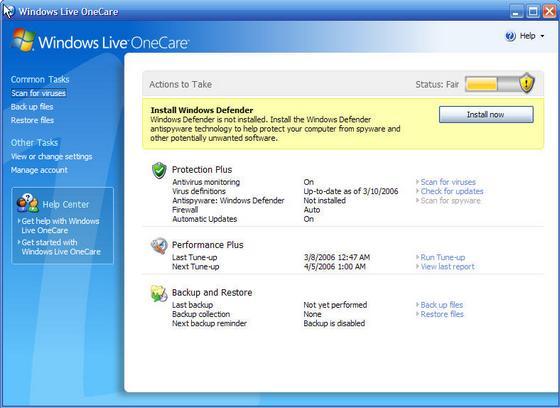 Windows Live OneCare & Windows Defender (1 of 11)