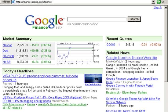 Google Finance home