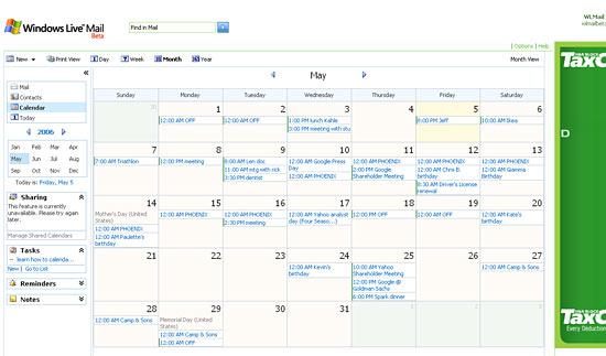 Windows Live Calendar month view