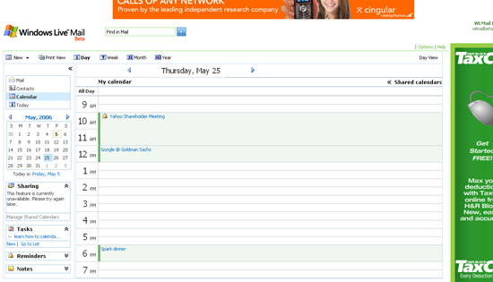 Windows Live Calendar day view