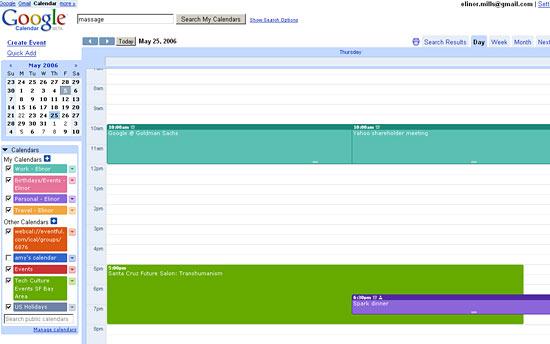 Google Calendar day view
