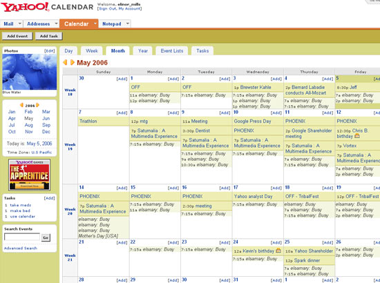 Yahoo Calendar month view