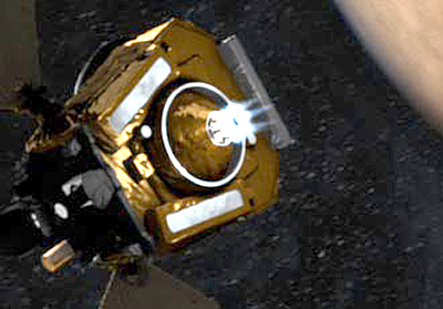 Spacecraft fires engines