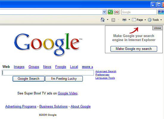 Google IE prompt