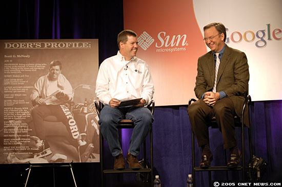 Sun's Scott McNealy joins Google's Eric Schmidt at press event