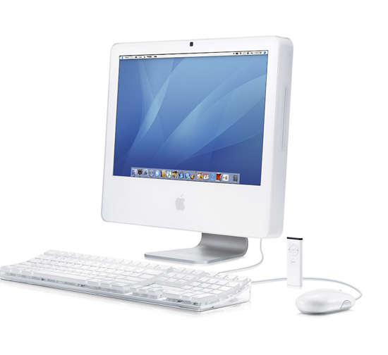 iMac with keyboard and remote