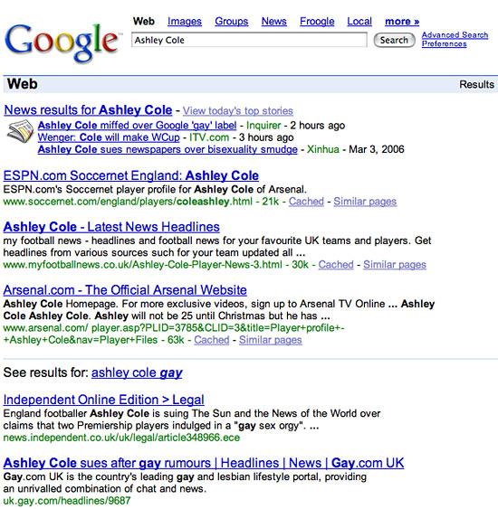 Google screen shot Ashley Cole