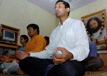 Photo: Software workers meditate