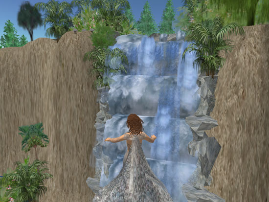 Hovering near waterfall