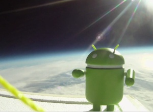 Android smartphone in space