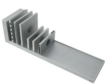 A row of laptop modules on a gray shelf